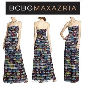 """BCBGMaxAzria """"Dharma"""" Fitted Gown With Strapping"""